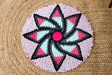 Handmade Fabric Round Rug Door Wall Decor Mat Circular None Braided Gift 50cm 39