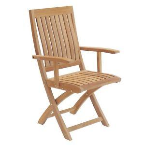 NTCH003A, Niagara Furniture, Niagara Teak Crown Folding Arm Chair
