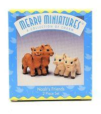 Rare 1997 New Noah'S Friends Merry Miniatures 2 Piece Ornament Set Scarce & Cute