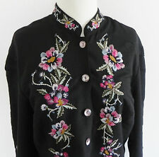 Units Duster Black / Multicolored Embroidery Silk Blend Knee Length Size M/L