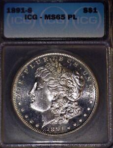 1891-S Morgan Silver Dollar ICG - MS65 PL, Knock Out !!