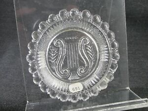 1830S CUP PLATE FLINT ROSE LEE 691 SCARCE LYRE CLEAR 3 3/16 INCH MIDWEST