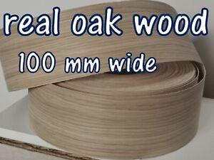 Iron-on Edging Preglued Real Wood Oak Veneer Edge Banding Tape 100 mm White Oak