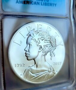 2017-D Silver 1 oz UNC Medal American Liberty 225th Anniversary ICG MS70