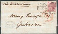 Großbritannien Auslandsbrief mit Mi.-Nr.28 als EF Liverpool nach Galorston/USA
