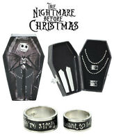 Nightmare Before Christmas 2Pc Ring Set Jack Sally Meant To Be Coffin Box Disney