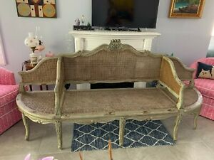FRENCH STYLE GRAY GREEN PAINTED CANED DEACONS BENCH