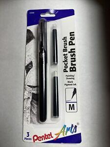 Pentel Pocket Brush Pen W/2 Refills-Black, GFKP3BPA