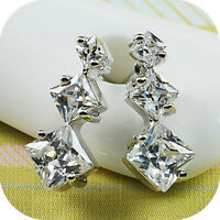 18k white gold gp made with Swarovski crystal round square stud fashion earrings