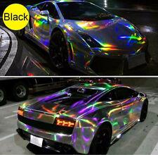 Black Holographic Laser Chrome Car Wrap Film Auto Vehicle Air Release 58''x12''