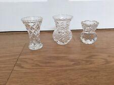 THREE SMALL GLASS BUD VASES