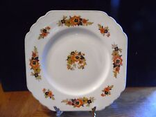 Vintage Wedgwood England Orange Black Flower Floral Square Luncheon Plate