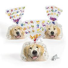 12 Doggy Cellophane Bags Treats Candy Birthday Puppy Dog Party Golden Retriever
