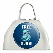 Free Hugs Boa Constrictor Snake Funny Humor White Cowbell Cow Bell Instrument
