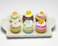 6 Mixed Dollhouse Miniature Cupcakes on a Ceramic Tray * Doll Mini Food Cake