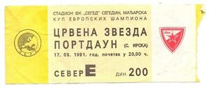 USED TICKET - FC RED STAR BELGRADE vs FC PORTADOWN - UEFA CHAMPIONS CUP 1991