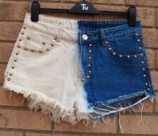 COSMIC JEANS BLUE WHITE BLEACHED  FRINGED BEADED DENIM  HOT PANTS SHORTS 12