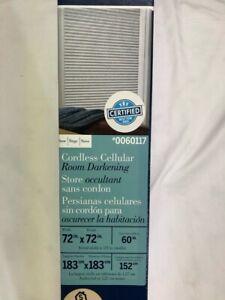 """LEVOLOR Room Darkening Cordless Cellular Shade,Snow 72""""x72"""" #0060117"""