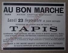Publicité ancienne Au Bon Marché ,Tapis 23 septembre 1895 Boucicaut