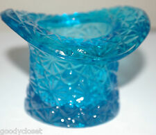 FENTON DAISY AND BUTTON BLUE GLASS TOP HAT TOOTHPICK HOLDER VASE