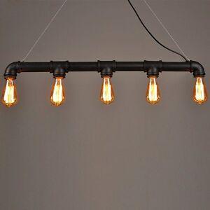 Lightess Lampe De Plafond Suspendue Tube Industriel Vintage Rétro 5 Unipolaire