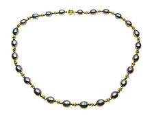 Grey freshwater pearl necklace alternating with 9ct Gold beads