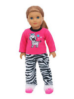 Zebra Fleece Pajamas PJs Black White Doll Clothes For 18 Inch American Girl 2 PC