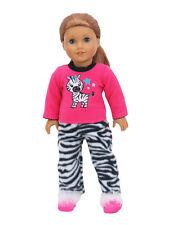 Zebra Fleece Pajamas PJs Doll Clothes Fits 18 Inch American Girl 2 PC