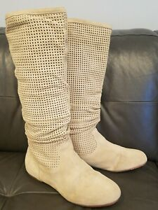 UGG Abilene Beige Leather Perforated Tall Flat Boots Women's Size 7.5  #1947