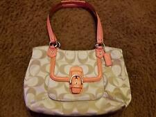 Coach Bag Beige with Salmon Straps