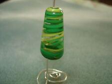 NEW Handmade Art Lampwork Focal Bead 28mm - Swirled Ribbons Drop - Closed Shop