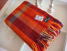 D&T 100% Schurwolle Decke Wolldecke Cottage Rot Orange Grau kariert 130x200cm