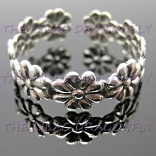925 Sterling Silver Daisy Flower Chain Toe / Midi Ring + Organza Gift Bag UK
