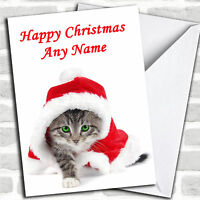 Green Eyed Tabby Cat Christmas Customised Card Personalized