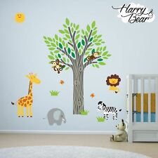 Sunshine Jungle Animal Nursery Vinyl Wall Stickers, Kids Wall Decals, Removable