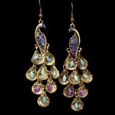 Bird Women Charming Vintage Journey Pea Dangle Rhinestone Blue Earrings