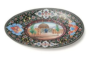 Antique/Vintage Middle Eastern Hand Painted Enamel on Metal Dish with Temple