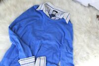 George Womne's size 12/14 Collared Sweater long sleeve stretch pullover blue