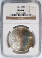 1881 S Silver Morgan Dollar NGC MS 64 Star Monster Rainbow Crescent Toned Toning