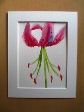 ORIGINAL ART - Pink Lily flower watercolour with mat board
