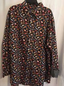 Cremieux Men Shirt Guitar Print Sz LT 2XLT 2XB Long Sleeve Snaps Big Tall NWT
