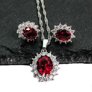 Silver Plated Oval  Red And White Cubic Zirconia Necklace And Earrings Set