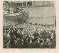 1873 Antique Print - LONDON ROYAL GEOGRAPHICAL SOCIETY SAMUEL BAKER SPEECH (15B)