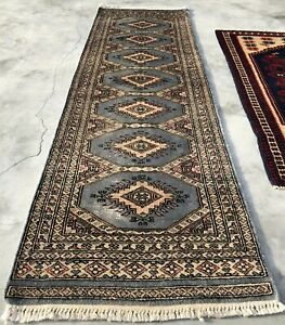 Distressed Hand knotted Vintage Pakistan Bokhara Jhaldar Wool Area Runner 6 x 2