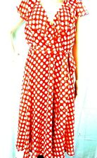 Connected apparel Red Polka Dot Crossover Front Sleeveless Dress sz 14