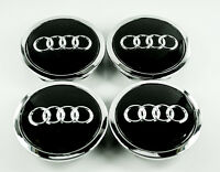AUDI 68MM CENTRE CAPS ALLOY WHEEL FOR A3 A4 A5 A6 A8 S3 S4 TT RS4 Q5 Q7 BLACK