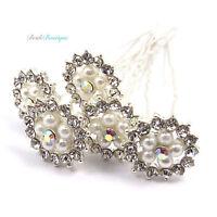 Bridal Wedding Silver Diamante & Pearl Large Flower Hair Pins Clips Grips HP06