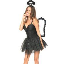 Ann Summers Dark Fallen Angel Fancy Dress Costume Outfit With Wings Size 8 - 10