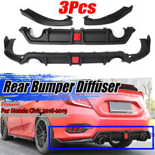 For 16-19 Honda Civic Sedan 10th Gen Rear Bumper Diffuser Lip Spoiler Reflector