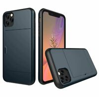 Card Slot Holder Wallet Case ShockProof Armor Cover For iPhone 11 Pro XR XS Max